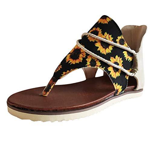 smilebuy Sandales Plates Femmes Confortables Orthopedique Chaussures Plateforme - 2021 Newest Été Sandales Femmes Sandales Plates Toe T-Sangle Comfy Semi Trailer Sandales Chaussures de Plage