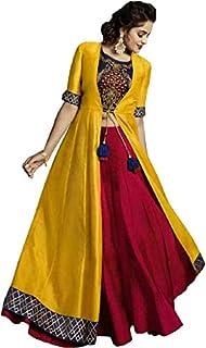VAYUDUTAM Women Ethnic Set of Rayon Crop Top Skirt and Shrug || Classy Crop Top Kurti with Skirt and Shrug Jacket || Embro...