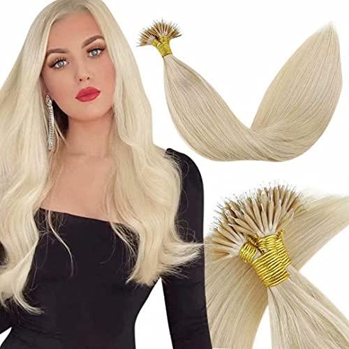 LaaVoo 20 Pouce/50cm Cold Fusion Remy Nano Ring Extensions de Vrais Cheveux Humains Nano Stick Tip Hair Pre Bonded Froid Single Colour Light Blonde #2
