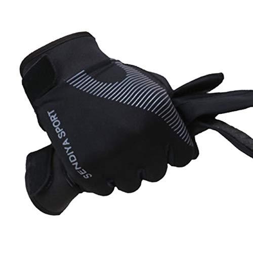 1 par de Guantes de Bicicleta con Pantalla táctil para Dedos completos, Guantes de MTB para Hombres y Mujeres, Guantes de Verano Transpirables, Guantes Ligeros para Montar-Black L-1-L