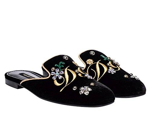 Dolce & Gabbana Women's Black Velvet Slippers - Thong Shoes - Size: 7.5 US