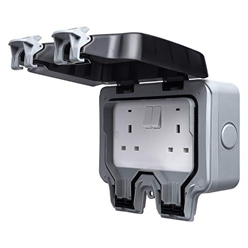 BG Electrical WP22-01 Double Weatherproof Outdoor Switched Power Socket, IP66 Rated, 13 Amp, Grey
