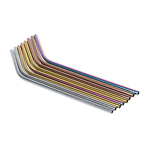 TOOGOO 10 Stueck - Edelstahl farbige Wiederverwendbare Strohhalme - enthaelt 2 Lange Reinigungsbuersten