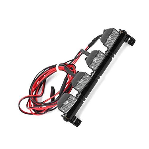 Dilwe Luces de Techo de Coche RC, Accesorio de Luces de Techo de Barra de Luz de 4 LED Compatible con Axial scx10 Traxxas RC Car(Blanco)