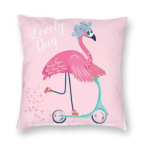 Nixboser Fundas de almohada de poliéster con diseño de flamencos con gafas de sol, diseño de pájaro dulce con patinete, color rosa