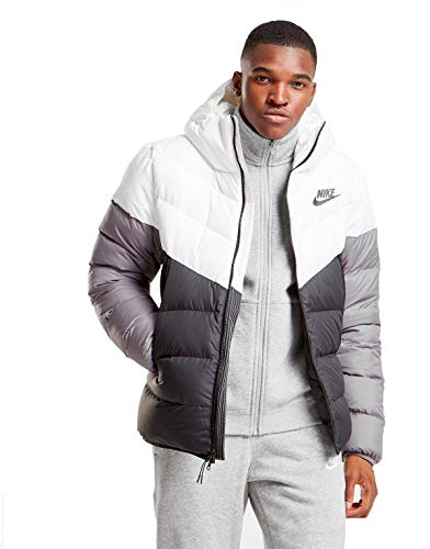 NIKE Sportswear Windrunner Down Fill Men's Hooded Jacket (White/Black/Grey, Large)