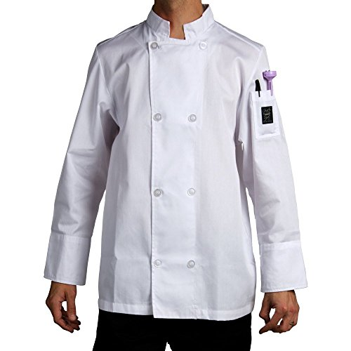 Chef Revival J049 24/7 Poly Cotton Blend Long Sleeve Unisex Cool Crew Jacket with Clear Pearl Bottons, X-Small, White