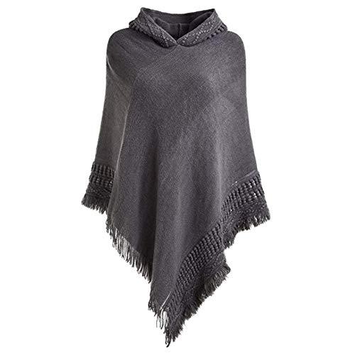 FXYY Womens Hooded Cape met franje Hem, gehaakte Poncho trui breien patronen trui sjaals wikkels capes voor vrouwen