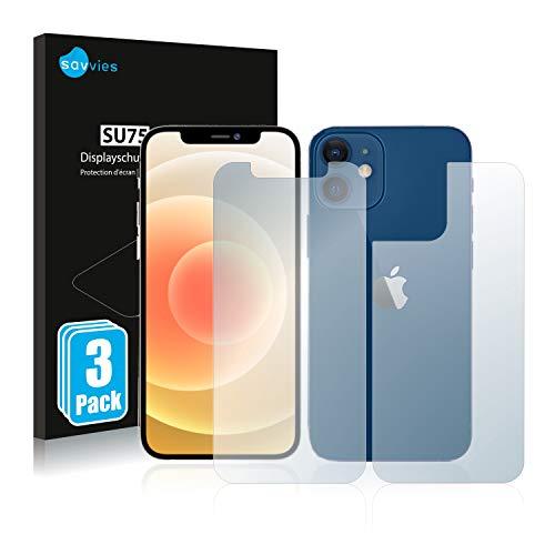 Savvies 6X Schutzfolie kompatibel mit Apple iPhone 12/12 Pro (Vorder + Rückseite) Bildschirmschutz-Folie Ultra-transparent