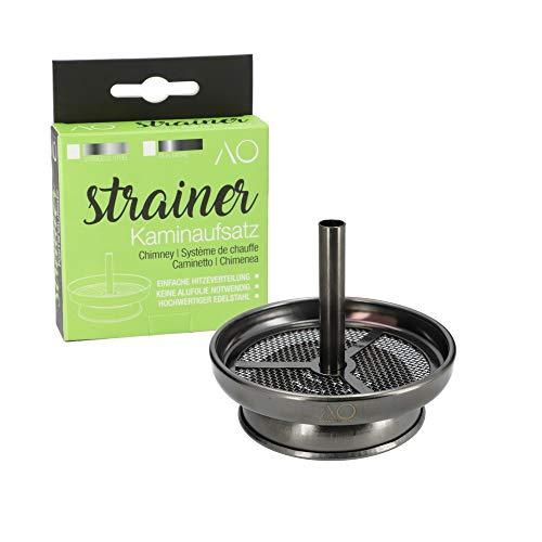 AO® Strainer Kaminaufsatz - Shisha Zubehör Für Perfekte Kohletemperatur - Aus Rostfreiem Edelstahl - Simpler Aufbau & Einfache Reinigung - Gun Metal