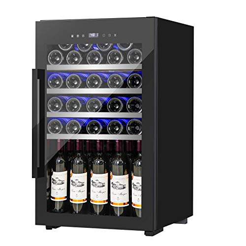 FANCOOL Wine Cooler 63 Bottle Compressor Wine Fridge, Freestanding Wine Cellars w/Beech Shelf Touchscreen Blue Light Quiet Operation Fridge for Red, White, Champagne or Sparkling Wine 41-68°F, 19.7×19.7×32.5 Inch