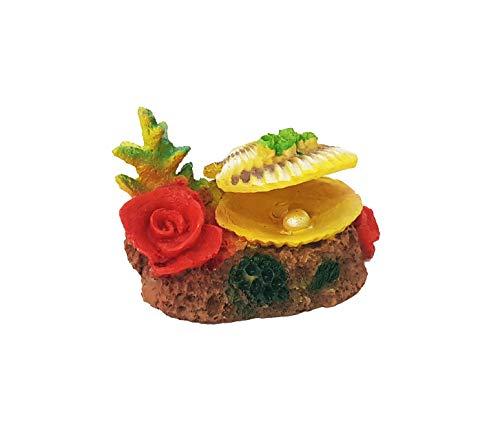 takestop® schelp Perla ROCCIOSA 12 x 9 x 8 cm koraal bloemen openen bol onderwaterdecoratie voor aquarium