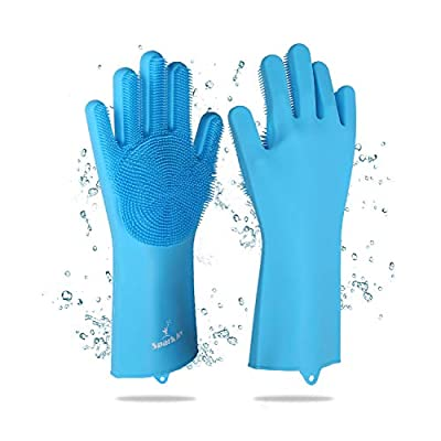 SPARKJOY Silicone Dishwashing Gloves, Pair of Washing Scrub Sponge Dishes Gloves, Heat Resistant Magic Dish Wash for Kitchen Bathroom Car Pet Hair |Heavy Duty|