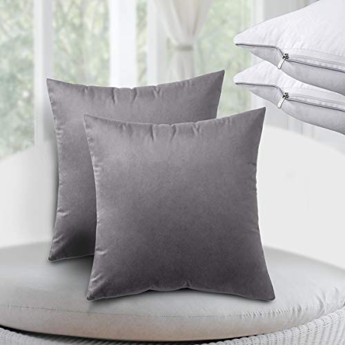 Comvi Cushions with Covers Included Set of 2 – (2 Cushion Inserts, 2 Cushion Covers) Cushions & Accessories – Velvet cushions for sofa with cushion pads - cushion covers 18x18- Grey Cushions filled