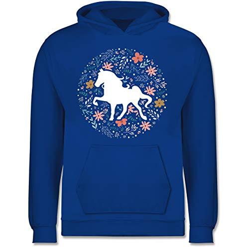 Tiermotive Kind - Pferd mit Blumen - 140 (9/11 Jahre) - Royalblau - Pferdeliebe - JH001K JH001J Just Hoods Kids Hoodie - Kinder Hoodie