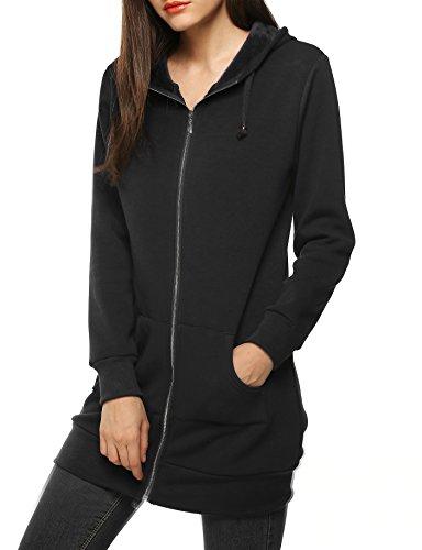 Zeagoo Women Winter Soft and Comfortable Long Fashion Hoddie Sweatshirt,Black,XX-Large