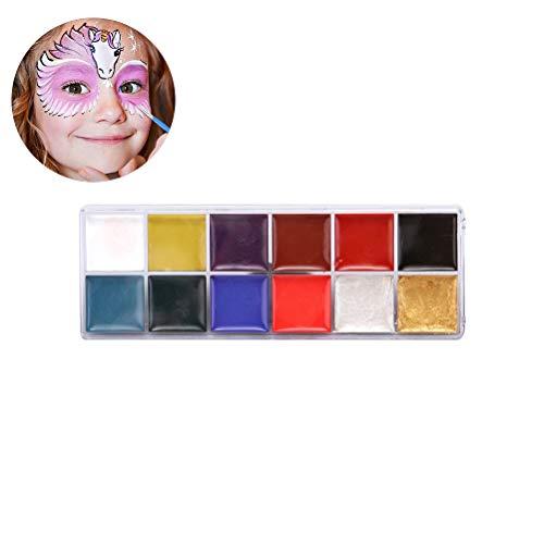 Uyuke 12 Colores Pintura al óleo Cara Cuerpo Pintura Pigmento Arte Tema Fiesta Halloween Disfraces Fiesta Maquillaje Herramienta