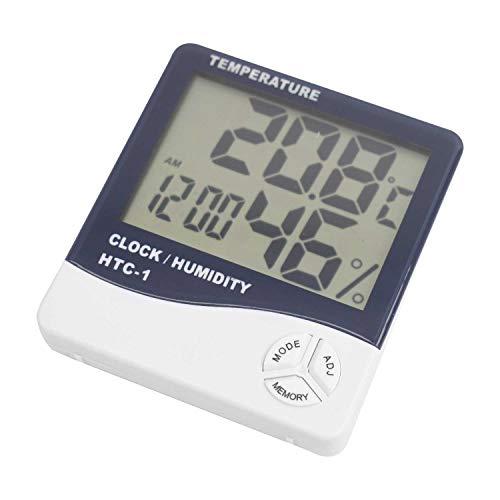 DIGIFLEX Digitale LCD-Temperatur- und Feuchtigkeitsmesser mit Uhr und Wecker