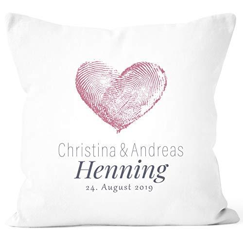 SpecialMe® Hochzeitskissen Herz Fingerabdruck, Kissen zur Hochzeit personalisierbar, Hochzeitsgeschenk weiß Unisize