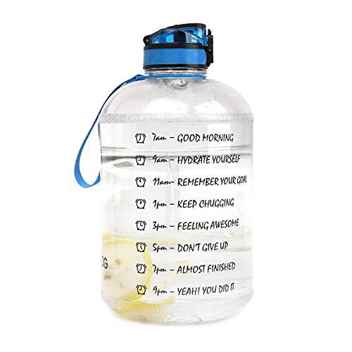 ZHANGYU Botella aguacon, 1 Galón Capacidad De Gran Paja Motivacional Marcador Tiempo sin BPA Free A Prueba De Agua, Gimnasio Fitness, Cocina para El Hogar,Blanco