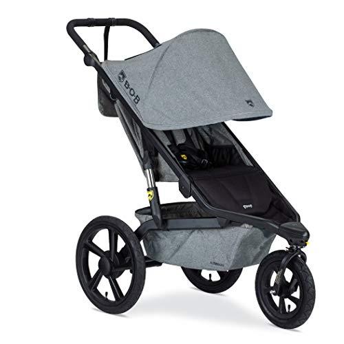BOB Gear Alterrain Jogging Stroller | Quick Fold + Adjustable Handlebar + XL UPF 50+ Canopy, Melange Gray