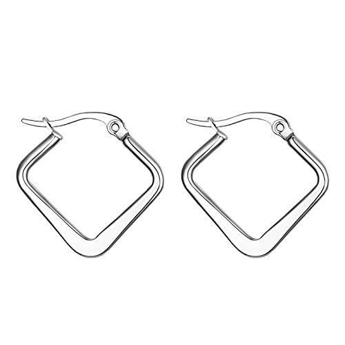 JewelryWe Schmuck Damen Ohrringe Edelstahl Poliert große Quadrat Viereck Geometrie Hoop Creolen Ohrstecker Silber 20mm