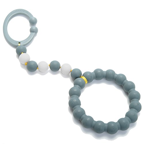 Chewbeads - Gramercy Baby Teething Toy- Car Seat Teether & Stroller Toy - Silicone Teething Ring for Infants, Babies & Toddlers - Medical Grade Silicone, BPA Free & Phthalate Free (Grey)