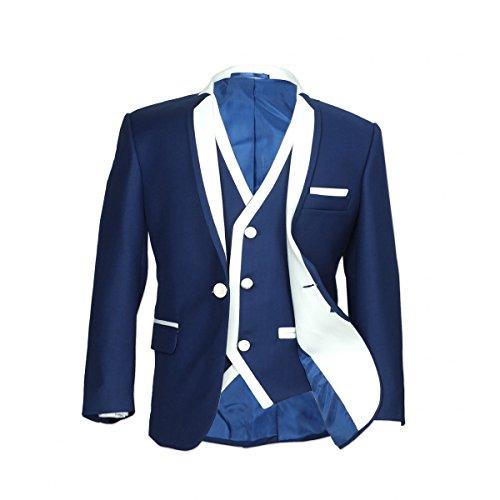 SIRRI Designer Jungen Formelle Enganliegend Anzüge, Pagen Hochzeit Ball Anzug, Exklusiv Kinder Anzug - Dunkelblau 3 Teile, Jungen, 104