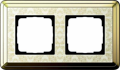 Gira 0212673 Abdeckrahmen 2-fach ClassiX Art Messing, cremeweiß