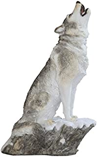 StealStreet SS-G-54272 Grey & White Wolf Howling Siting on Snow Figurine