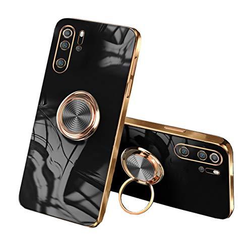 Cover Compatibile con Huawei P30 Pro Cover Silicone TPU, Cover Huawei P30 Pro con Anello Rosa, Custodia Huawei P30 Pro Case Morbido (Nero, Huawei P30 Pro)