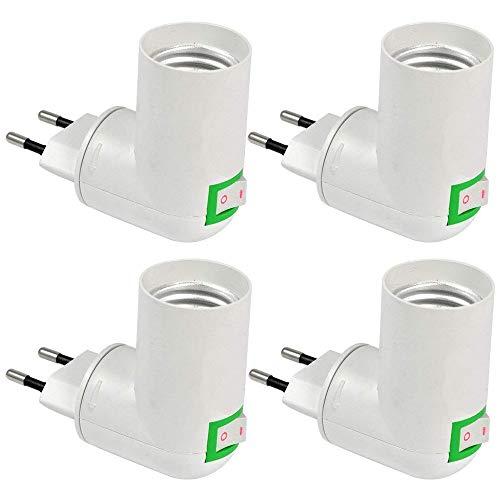 Lampenfassung E27 ohne Kabel, Lampe Steckdose E27 mit Schalter, 360-Grad-Richtungswandleuchte, Adapter für EU-Steckdose und E27-LED, als Mobiles Steckerlampen/Bettleuchte, 4er-Set (ohne Licht)