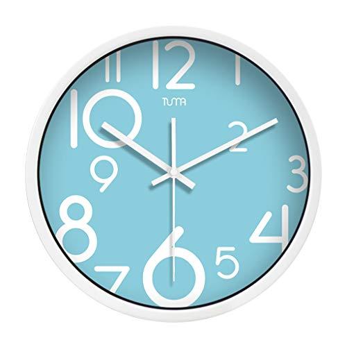 Everyday home Horloge murale ronde minimaliste moderne Horloge à quartz de conception numérique d'intérieur non muette (Couleur : Blanc, taille : 14 inches)