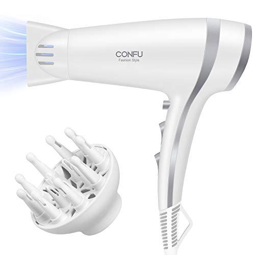 CONF Haartrockner Föhn Ionen 2200W Fön Profi Haarfön mit Stylingdüse leistungsstarker und langlebiger Motor 3 Heiz & 2 Gebläsestufen + Abkühlstufe +Diffusor (Weiß)