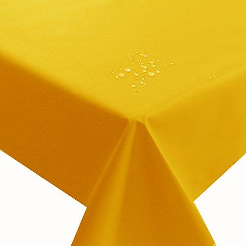 NL Meterware Stoff Farbe, Breite & Länge wählbar - Gelb TEFLON Eckig 140 x 100 bzw. 100x140 cm Tischdecke