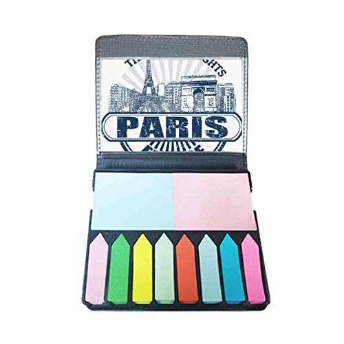 Parijs Frankrijk Vlag Eiffeltoren Architectuur Zelfklevende Opmerking Kleur Pagina Marker Doos