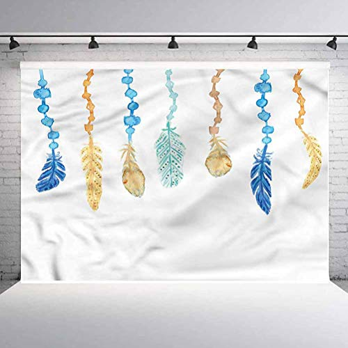 7x7FT Vinyl Photography Backdrop,Feather,Colorful Bird Design Background Newborn Birthday Party Banner Photo Shoot Booth