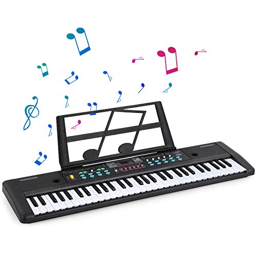 61 Key Portable Keyboard, Digital Keyboard Piano with Dual Power Supply, Electronic Organ with Built-in Speakers, Microphone, Recording Kids Learning Keyboard Portable Electric Piano Toy for Children