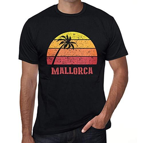 One in the City Hombre Camiseta Vintage T-Shirt Gráfico Mallorca Sunset Negro Profundo