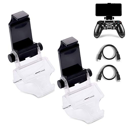 PS4 Controller Phone Clip, PS4 Slim Pro Controller Grip for Android Smart Phone, 180 Degree Gaming Holder Mount Stand Bracket for Playstation 4 Game Controller 6 in Samsung, Pixel, OnePlus