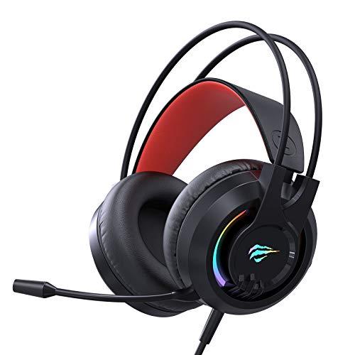 havit Headset für PS4, RGB Gaming Headset für PC, Xbox One, Laptop, Kabelgebundenes Gaming Kopfhörer mit Surround Sound 50MM Treiber und Mikrofon, H2020d
