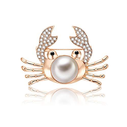 EWAT Broche para mujer, broche de cangrejo creativo, para mujer, decoración de vestir, joyería, banquete, fiesta, oro, perla de lujo, regalo decorativo