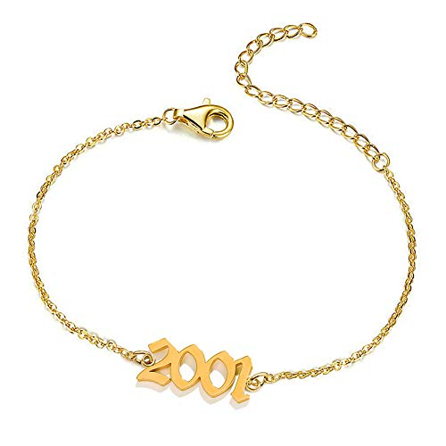 UMSTAR Birth Year Number Dainty Anklets for Women,18K Gold Plated Foot Jewelry Adjustable Chain Beach Ankle Bracelets Anniversary Birthday Gifts for her