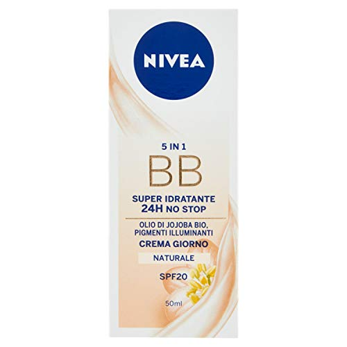 Nivea Essentials BB Cream Super Idratante 24H Uniformante, Crema Giorno Viso SPF 20, Colore Naturale, 50 ml