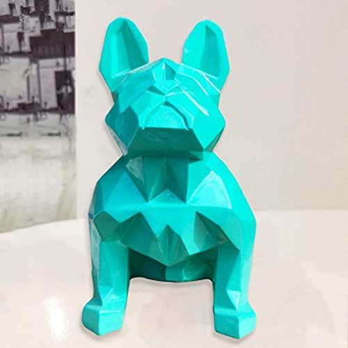 Estatuas para decoración del hogar, Resina geométrica abstracta moderna Decoración de escritorio de perro verde del ejército, Forma de animal, Figuras Esculturas Estatuillas, para la oficina en el hog