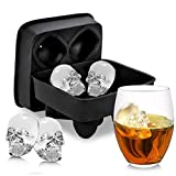 Liwei18 4 Grids 3D Skull Shape Ice Mold Silicone Wine Ice Cube Tray Maker Mould Tool Ice Cube Molds & Trays