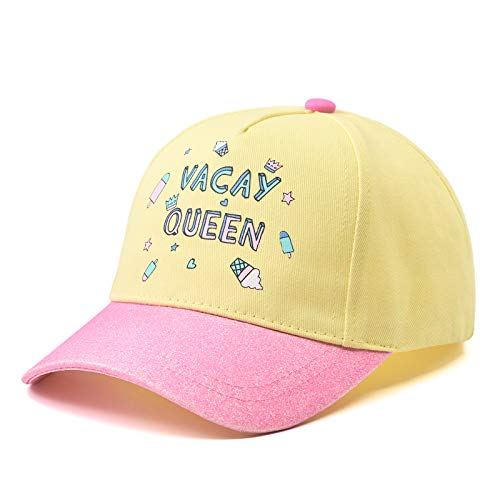 Girls Novelty Baseball Cap for Little Kids, Adjustable Haps for 3-6 Years Old Children, Pink & Yellow Color with Pattern