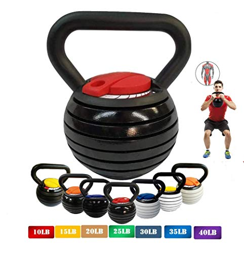 【10-40LBS】 Adjustable Kettlebell Weights Sets for Men Women, Kettle Bell Weights Set Strength Training Weight Sets Cast Iron Free Weight Kettlebells Sets for Home Fitness Gym Equipment,Black+Red