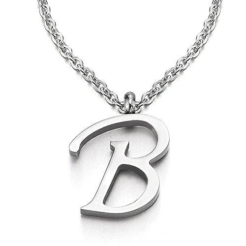 COOLSTEELANDBEYOND Name Initiale Alphabet Buchstaben A bis Z Anhänger Edelstah Halskette für Damen Herren mit 50cm Stahl Seil-Kette - B