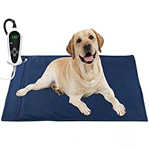 "RIOGOO Pet Heating Pad, Electric Heating Pad for Dogs and Cats Indoor Warming Mat with Auto Power Off (X-Large: 32"" x 20"")"